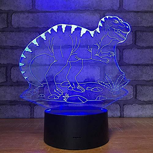 YOUPING Luz nocturna 3D 3D Luz visual 3D 7-Color Degradado Táctil Interruptor USB Lámpara de Mesa Decoración de la Habitación de los Niños Luz (Dinosaurio)