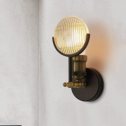 Wvfguj Home wandlamp Europese Retro Industriële wandlamp, Movie Vintage Car Glass Shade Copper Licht van de Muur, Slaapkamer Woonkamer Bar Cafe Hallway Meal E27 Iron Blaker van de muur (hoogte: 24cm)