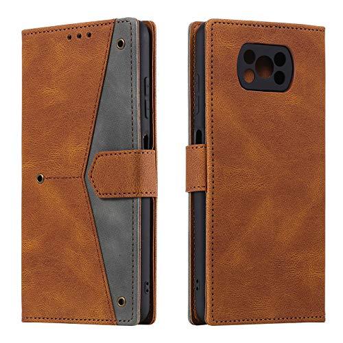 HOUSIM Hülle für Xiaomi Poco X3 Pro / X3 NFC Handyhülle mit Kartenfach Klappbar Schutzhülle Leder Tasche Flip Hülle für Xiaomi Poco X3 Pro / X3 NFC - HOHHA180242 Braun