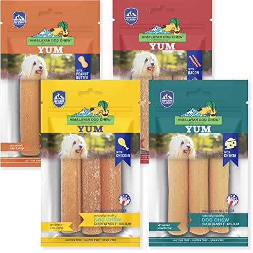 Himalayan Dog Chew YUM Himalayan Cheese Treats | Lactose Free - Gluten Free - Wheat Free -Soy Free| Made in USA | All Flavors - Cheese-Chicken-Peanut-Bacon | 4 Resealable Pouches