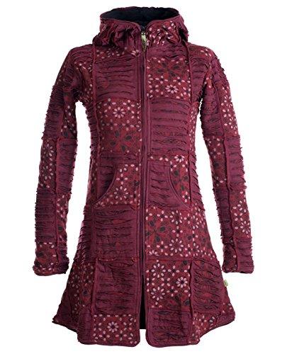 Vishes - Alternative Bekleidung - Warmer Elfen Patchworkmantel aus Baumwolle mit Fleecefutter und Kapuze dunkelrot 36