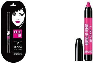 Elle 18 Eye Drama Kajal, Bold Black, 0.35g & Lakme Enrich Lip Crayon, Pink Burst, 2.2g