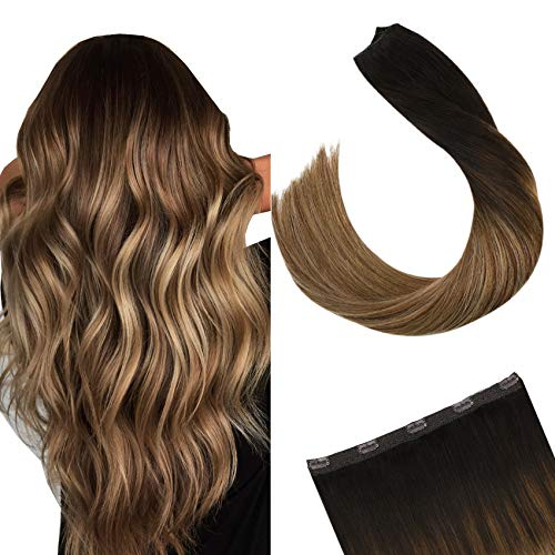 Ugeat 50cm Extensions Echthaar Clip in One Piece Balayage Extensions Echthaar Ein Stuck Clip in Tressen mit 5 Clips Dunkelstes Braun bis Mittelbraun und Hell Gold-Braun #2/6/12 50Gramm