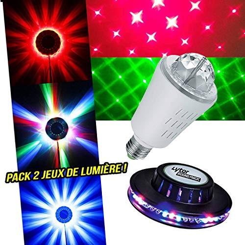 Lichteffect UFO-effect + lampen, rood/groen, 8 E27, muziekmodus