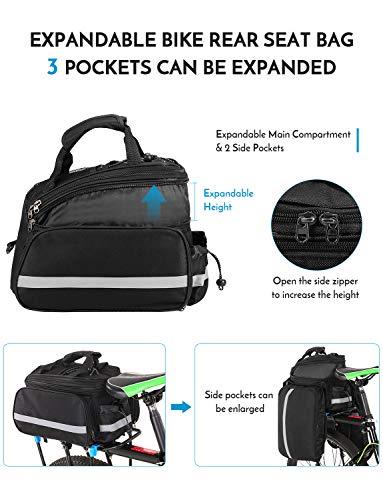 Lixada 25L Fahrrad Rücksitztasche Multifunktions erweiterbar Wasserdicht MTB Fahrrad Gepäcktasche Fahrrad Gepäcktasche mit Regenschutz, schwarz - 6