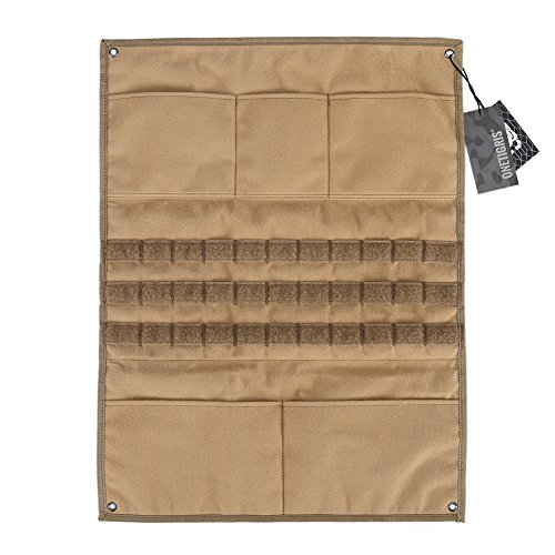 OneTigris Tactical Military Patch Holder Board Hook & Loop Patch Panel (Coyote Brown - with MOLLE Webbings & Pockets)