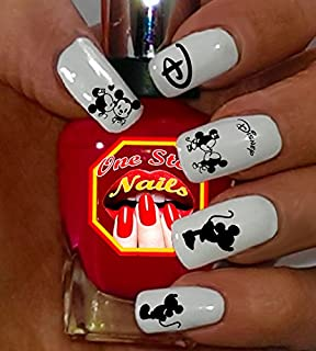 Minnie Mouse and Mickey Mouse Black and White Nail Art Decals. Tattoo Nail Decal Set of 58 by One Stop Nails