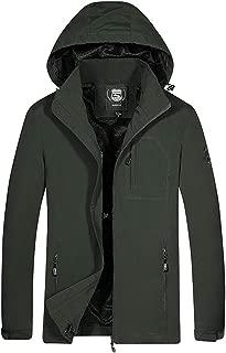wuliLINL Men's Waterproof Softshell Coat Sportwear Zipper Windbreaker Flight Bomber Jacket with Hat Detachable