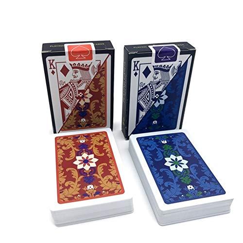 TX GIRL 2sets / Lot Karten Spielen Baccarat Muster Kunststoff Wasserdichtes Spielkartenspiel Texas Hold\'em Poker-Karten Brettspiele 2.28 * 3.46inch (Color : 2Red)