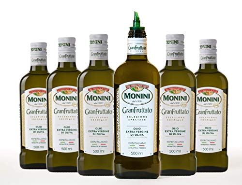 Monini Olio Extra Vergine Monini Granfruttato 100% Italiano N.6 Bottiglie Da 500Ml Con Beccuccio...