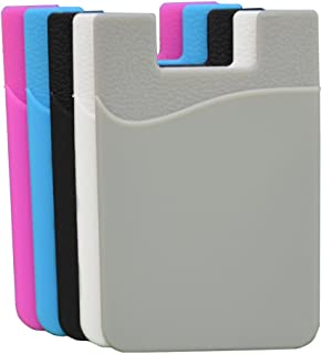 oPesea Cell Phone Card Holder Adhesive Credit Card Sleeve ID Pocket Stick-on Wallet on The Back of Phone/Case of iPhone,Samsung,LG,BLU,Piexl,Moto,Huawei(Mix 5PCS)
