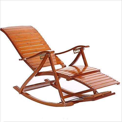 WJJJ Schlafsessel Schaukelstuhl Bambus Holz Multifunktions Mit Armlehnen Einstellbare Moderne Freizeit Designer Stuhl Für Lunch House Balkon