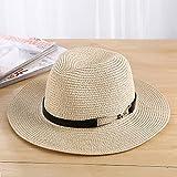Lianaic Sombrero Playa Mujer Verano mar Sombrero para el Sol Hombres Vacaciones Casuales Panamá Sombrero de Paja Mujeres ala Ancha Playa Jazz Sombreros Plegable Chapeau