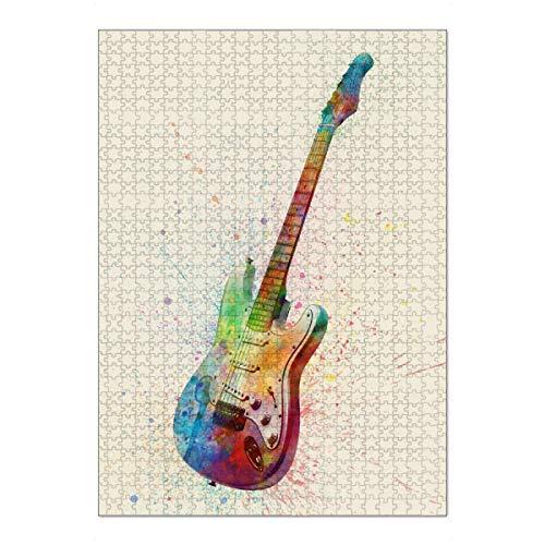 artboxONE Ravensburger-Puzzle XL (1000 Teile) Musik E-Gitarre Abstrakt Aquarell II Bunt