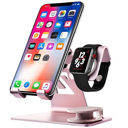JUZEN 2-In-1-Aluminiumlegierung Handyhalter Reserviert Threading Loch Anti-Skid Design Geeignet Für Mobiltelefon-Uhr-Tablette,Rosa