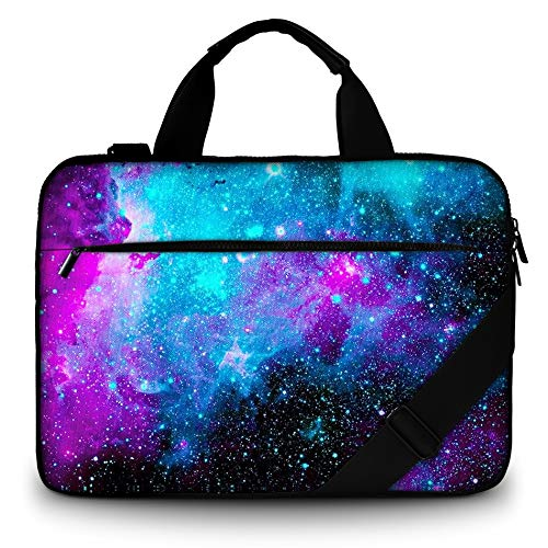 RICHEN 15' Canvas Laptop Shoulder Bag Laptop Netbook Bag,Protective Canvas Carrying Handbag Briefcase Sleeve Case Cover with Side Handle (14-15.6 inch, Galaxy)