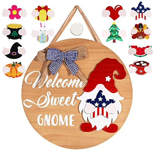 Welcome Sign for Front Door, Seasonal Sweet Gnome Door Hanger with Buffalo Plaid Bow, 12PCS Interchangeable Home Sign Rustic Farmhouse Welcome Sign Home Decor Ideas 12 Inches Front Door Decor