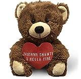 Zamnnn Shawty U Hella Fine (Brown) 10 Inch Teddy Bear & Gift Bag - Funny Cute Stuffed Animal for Girlfriend, Boyfriend, Best Friend - Birthday, Valentines, Anniversary, Wedding Gifts - Witty Bears