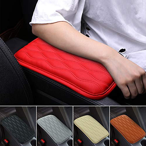SUHU Universal Red Auto Center Console Cover Pad Fit for SUV/Truck/Car, Waterproof Car Armrest Seat Box Cover, Leather Auto Armrest Cover