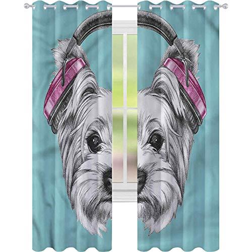 jinguizi Cortinas opacas Yorkie Auriculares de música para perro W42 x L72 oscurecimiento de la habitación, decoración del hogar para habitación de los niños