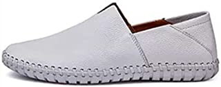Shhdd Simple and classic drive loafers male fashion casual shoes, slip-on flat non-slip round toe was leather stitching lightweight and thin (Color : White, Size : 41 EU)