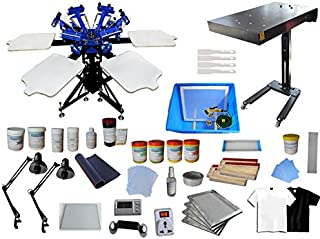 6 Color 6 Station Screen Printing Kit Flash Dryer Double Rotating Screen Printing Press wih Full Material Supply