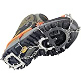 YUEDGE Unisex 12 Teeth Stainless Steel Anti-slip Ice Cleats Ice Grippers Shoe Boot Grips Crampons Snow Spikes...