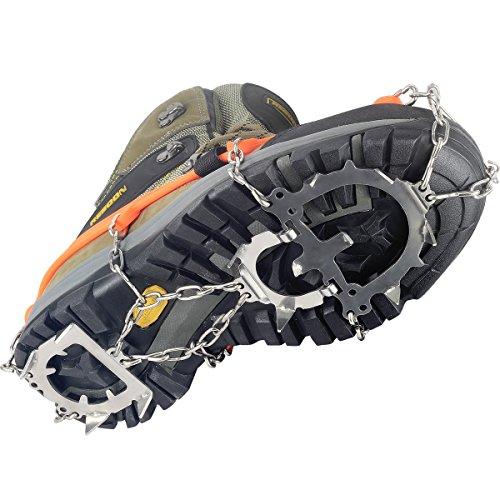 YUEDGE Unisex 12 Zähne Edelstahl Anti-Rutsch Ice Klampen Ice Greifer Schuh Stiefel Grips Steigeisen Schnee Spikes Griffe Traction Klampen L Orange