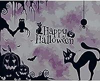 数字油絵 フレームレス 、数字キット塗り絵 手塗り DIY-大人の初心者の子供-カボチャの黒猫-40x50 cm