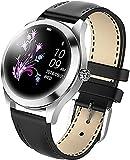 CNZZY Kw10 Reloj inteligente para mujer, IP68, resistente al agua, pulsera Bluetooth inteligente con presión arterial y monitor de ritmo cardíaco, adecuado para teléfonos iOS Android (B)