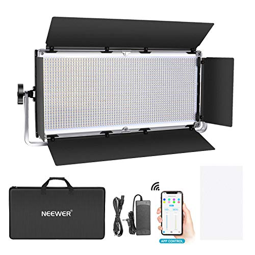 Neewer 1904 LED Luz Video Pro con Sistema de Control Inteligente App Iluminación Fotográfica Bicolor Regulable 3200K-5600K Kit para Iluminación Video Estudio Youtube con Pantalla LCD Carcasa Metálica