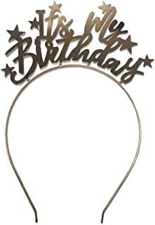 Its My Birthday Gold Metal Headband with Gold Stars Golden Finish Party Accessory