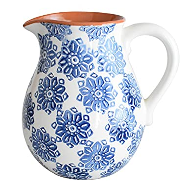Euro Ceramica Azul Tile Collection 8  Terra Cotta Decorative Pitcher, 2LT, Floral Hand-Painted Design, Blue & White