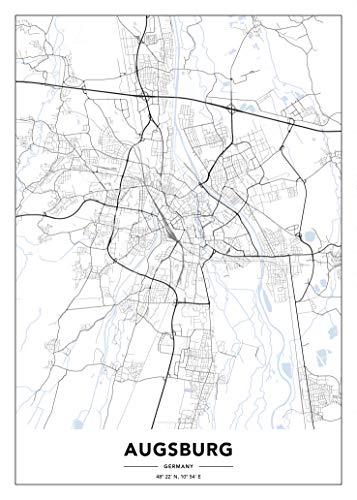GogoArtPrints Augsburg Stadtplan Poster. Modern Wanddekoration in Schwarz und Weiß.