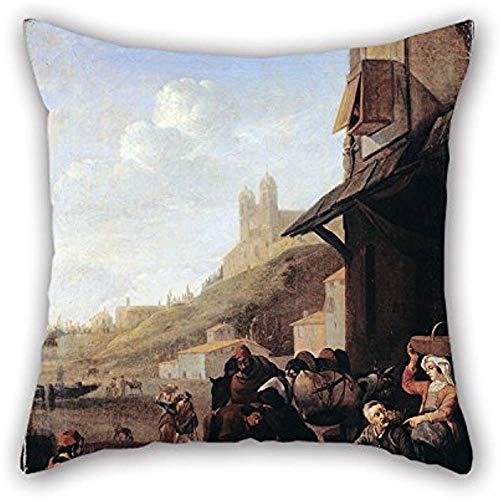 Pittura a olio Lingelbach, Jan - Fabbro romano 'S Shop Fodera per cuscino Ornamento e regalo per bambini Ragazzi Seggiolino auto Sala studio...