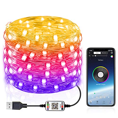 Bluetooth Led Fairy String Lights USB Starry Light String Music Waterproof Copper Wire Decorations Lights (16.4ft)