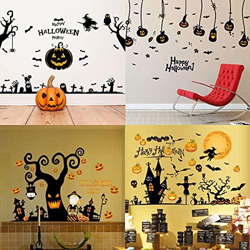 【 大満足の4種セット 】monoii ハロウィン 装飾 ウォール ステッカー 壁 飾り付け デコレーション 飾り シール d850