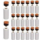 AMACOAM Puntas de Tacos de Billar 20 Piezas Duro de 12mm Punta de Repuesto para Taco de Billar Puntas de Billar con Rosca Metálica y Tip para Palos de Billar, Marrón Accesorios de Billar
