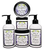 Lilac and Gooseberry Bath & Body Set | Lotion, Body Wash, Candle Tin, Scrub, and Hand & Foot Cream | Full Size Products | Yennefer Perfume Scent of a Sorceress by Bella Des Natural Beauty