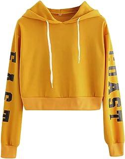 Women's Teen Girls Letter Print Long Sleeve Crop Tops Lightweight Hooded Sweatshirts Hoodie Pullover
