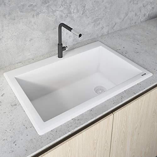 Ruvati 33 x 22 inch Dual-Mount Granite Composite Single Bowl Kitchen Sink