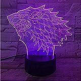 Lámpara 3D Dragon Totem Luz Led Juego de Trono Memoria Acrílico Grabado Lámpara de noche 3D con 7 colores Control remoto táctil