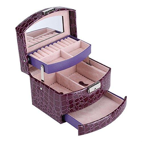 Fdit Joyeros Mujer Organizador Grande Caja de Joyería de 3 Capas con Espejo y Mango Caja Joyero para Collar Anillos Collar Broches Pulsera(Púrpura)