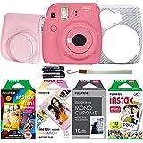 Fujifilm Instax Mini 9 Instant Film Camera Holiday Bundle (Flamingo Pink) with Four Fun Film Packs - 1 x Rainbow, 1 x Macaron and 1 x Monochrome - 40 Exposures with Accessories