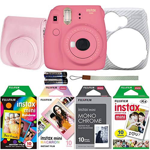 For Sale! Fujifilm Instax Mini 9 Instant Film Camera Holiday Bundle (Flamingo Pink) with Four Fun Fi...