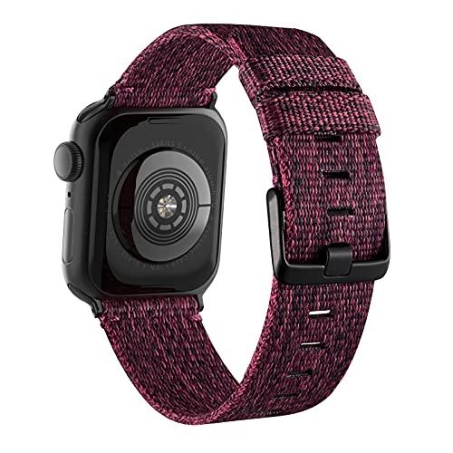 Goosehill für Apple Watch Armband Stoff, Gewebt Nylon Armband Kompatibel mit Apple Watch 6 5 4 3 2 1 SE (Weinrot,38mm/40mm)