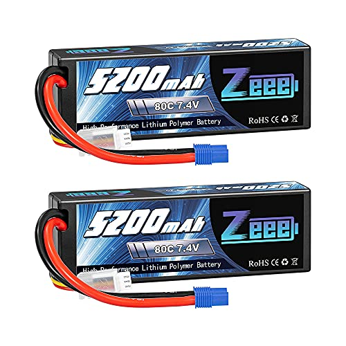 Zeee 7.4V 2S Lipo Battery 5200mAh 80C Hard Case Battery with EC3 Plug for 1/8 1/10 RC Vehicles Car RC Buggy Truggy RC Airplane Drone(2 Pack)