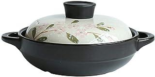 WQF Cocina Estufa Utensilios de Cocina de cerámica Sartén para Sopa Sartén para estofado Saludable Sartén de Barro Ollas de Barro, Blanco con Tapa de Flores (Tamaño: C: 29CM * 16.5CM)