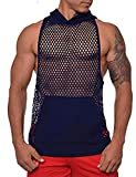 COOFANDY Mens Workout Tank Fishnet Muscle See Through T Shirt Sexy Mesh Transparent Tees Top (XX-Large, Navy Blue2)