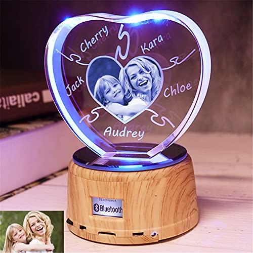 Corazón personalizado Luz nocturna Lámpara de cristal 3D Foto personalizada Grabada 1-8...